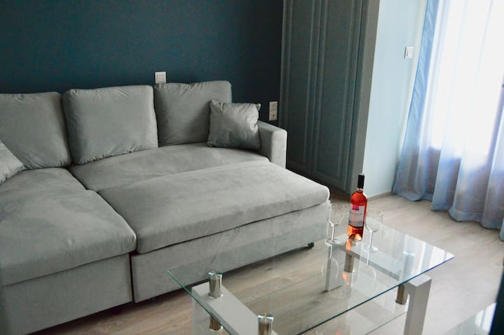 Living room with an opened sofa (size of a regular double bed)