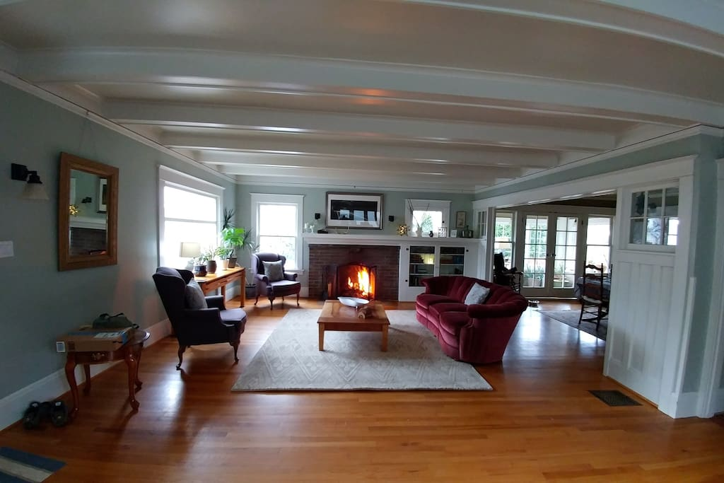 living room with formal dining on the right
