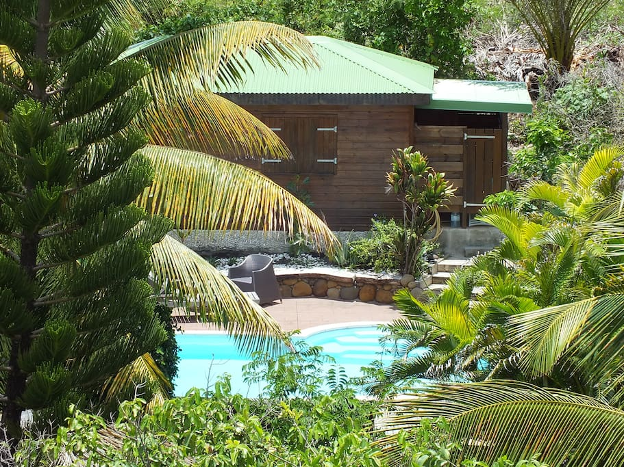 Bungalow bois avec piscine priv e bungalows louer gp - Bungalow guadeloupe piscine privee ...