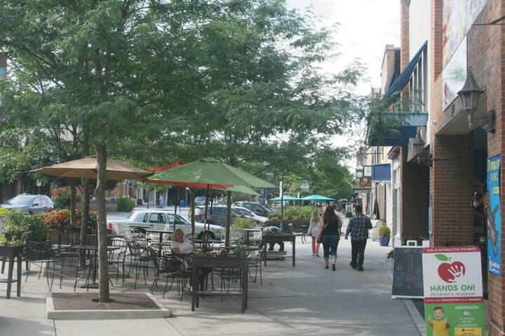 Enjoy shopping, restaurants, breweries downtown.
