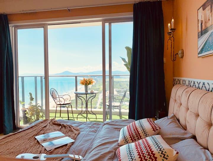 【摩洛哥之夜】三亚湾沙滩海景一居公寓/5晚接机