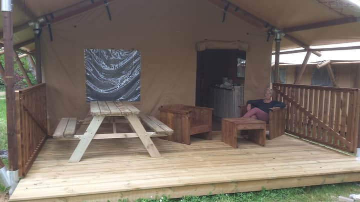 Luxury safari tent in the Dordogne France