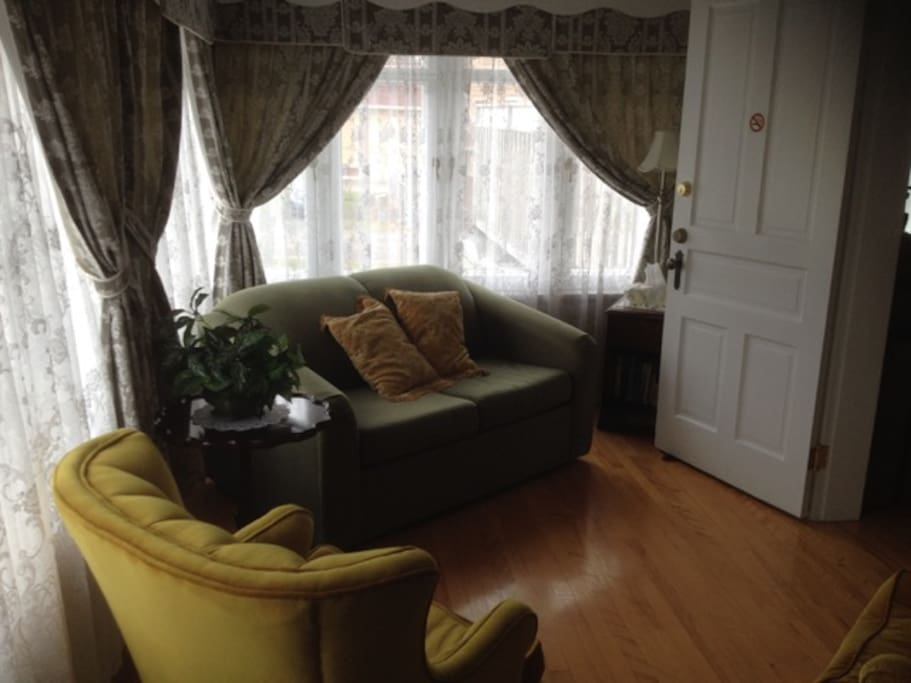 The living room/sun room with 1 person sofa bed