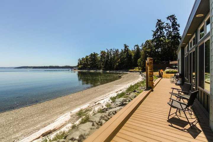 Contemporary waterfront home features beautiful views, near Penn Cove