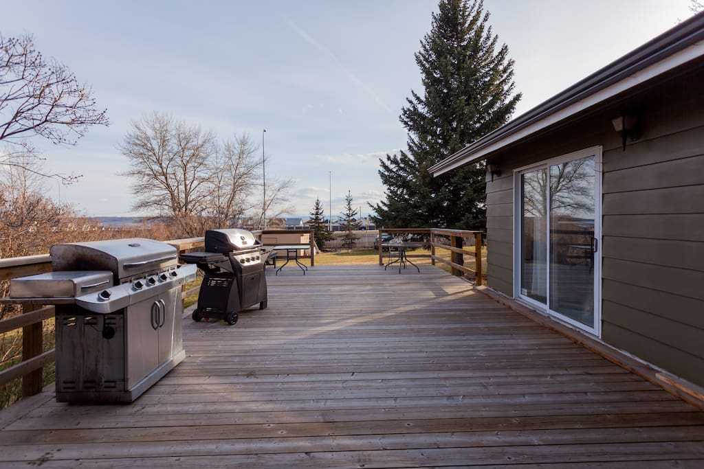 Deck off the kitchen and the family room