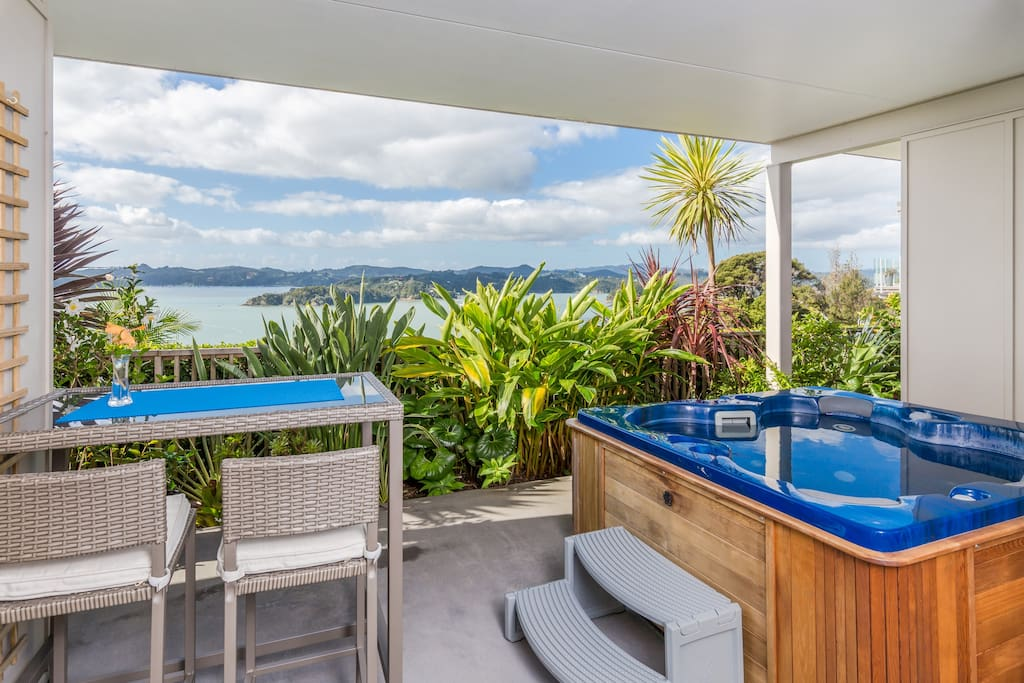 Jacuzzi and Breakfast High Table on Guest's Personal Terrace