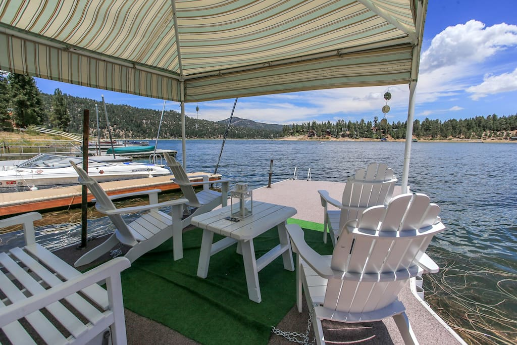 BEST VIEWING SPOT on the lake!  This Boat Dock has an awning with 4 adirondack chairs to relax in, have a meal, sip a drink, play cards, talk or watch the kids play in the lake!