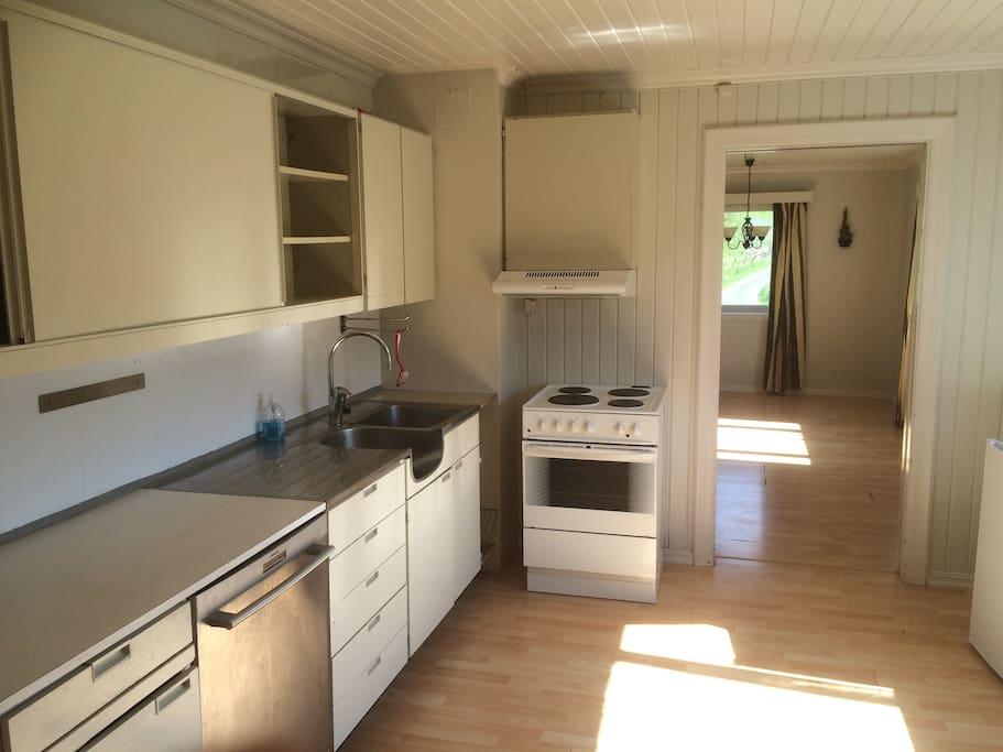 Spacious kitchen with dishwasher, fridge and stove.