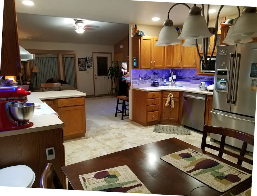 Kitchen with heated tile floor