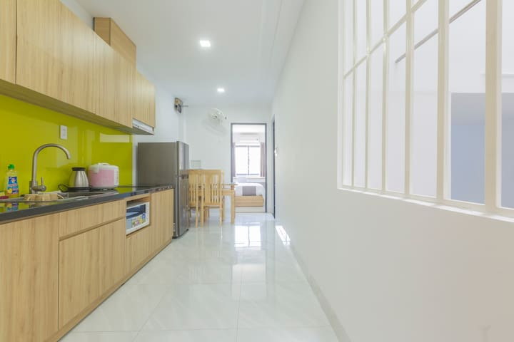 Each floor consist of a nice dining space and kitchenette!