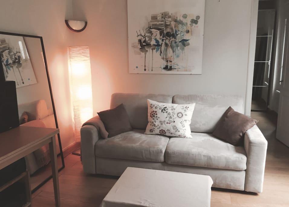 La pièce à vivre côté salon, avec  le canapé convertible