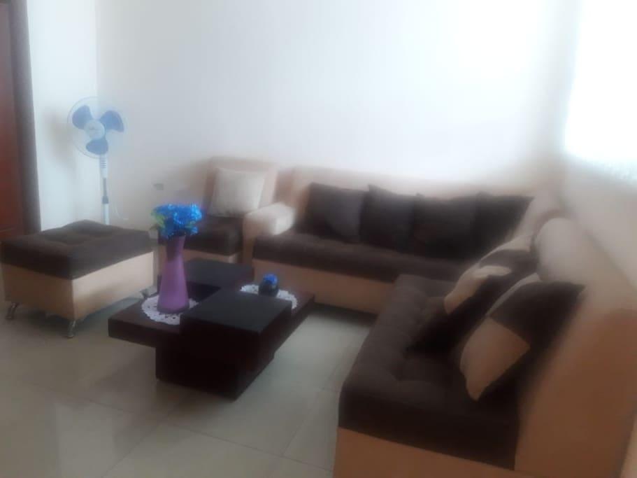 Aquí puedes apreciar, la sala de estar que te brinda el departamento para que uses como mas gustes.