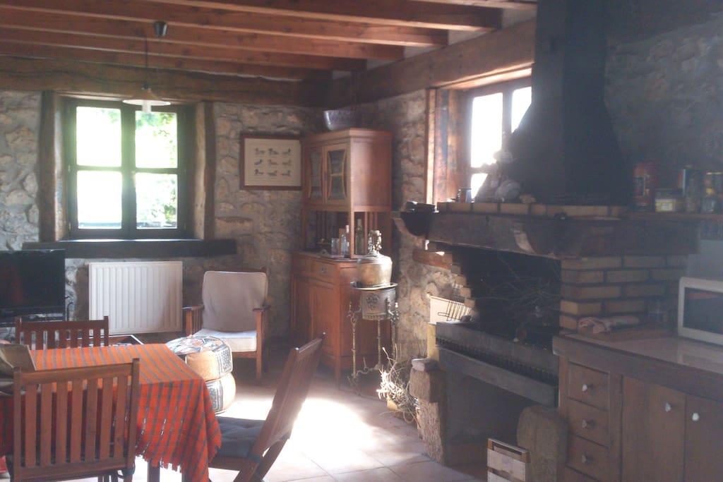 la cocina con fuego bajo