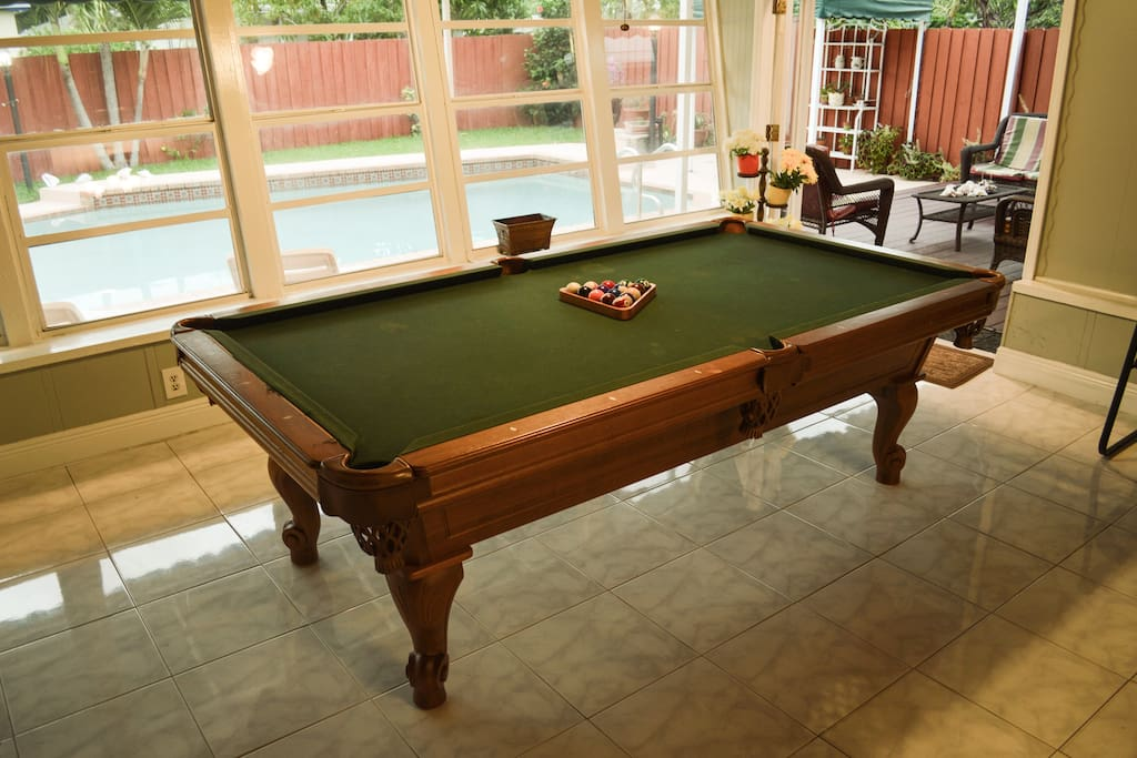 Billiards table with pool view