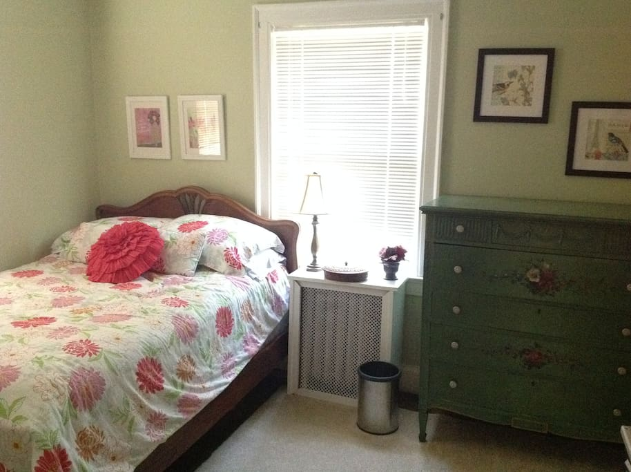 Your room with drawer and closet space and fresh linens.