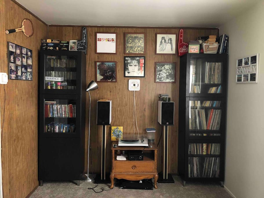 View of our sound system and turntable collection in the living room