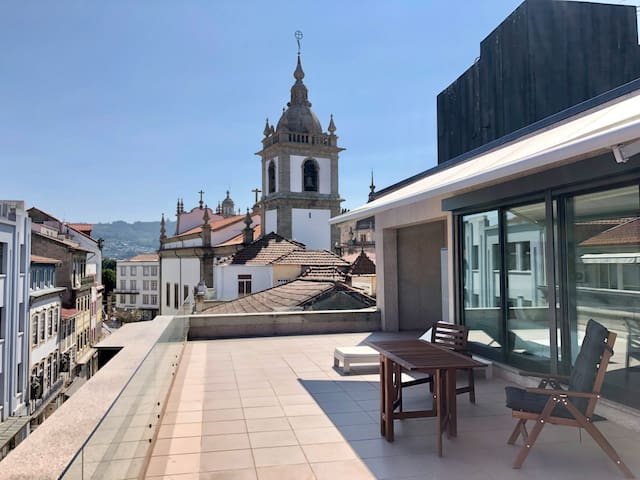 Rooftop studio in the city center
