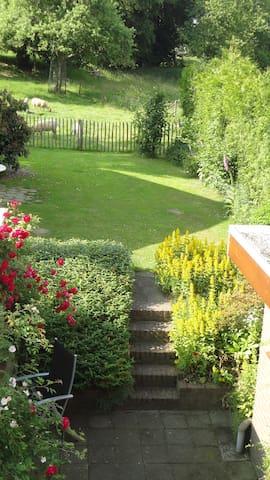 ruime tuin met uitzicht op onze hoogstamboomgaard