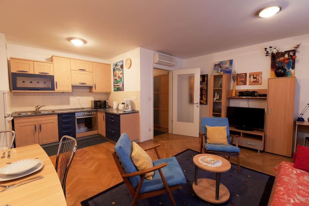 Apartment dining area with kitchen