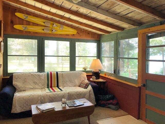 Small Cabin - Living Room/Sleeping Porch - Lake Views