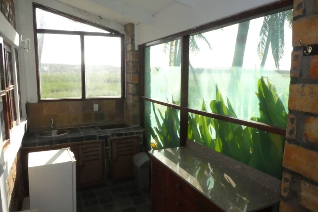 kitchen with view on the lagoon