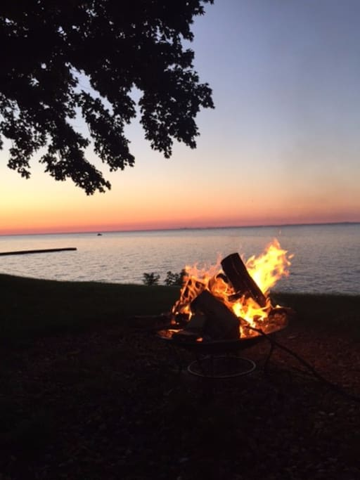 Evening bonfires are perfect by the water!