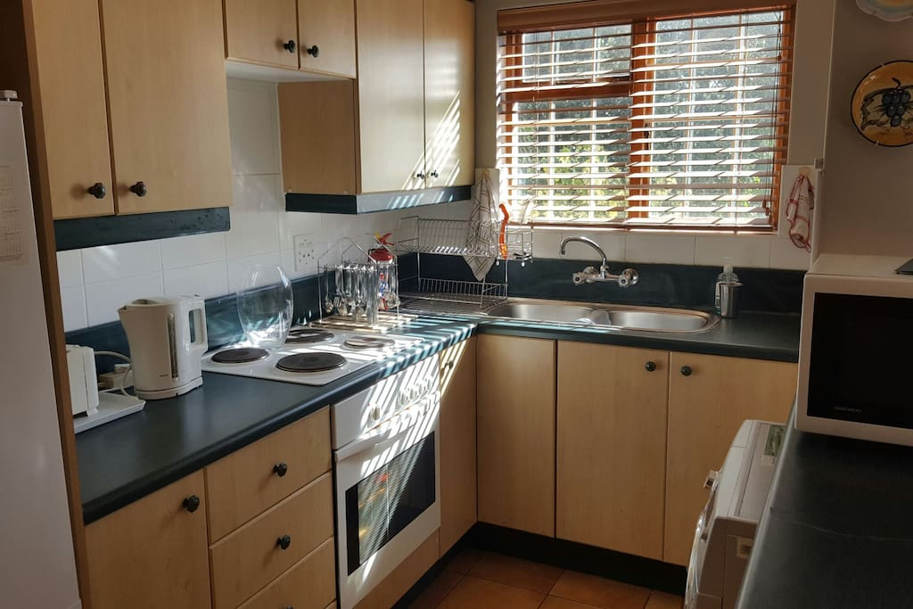 Simple, but sufficient, the kitchen has everything you need to cater for yourself.