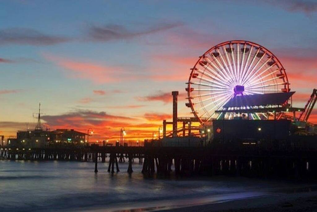 Enjoy the beautiful sunsets a few blocks away at the Santa Monica Pier
