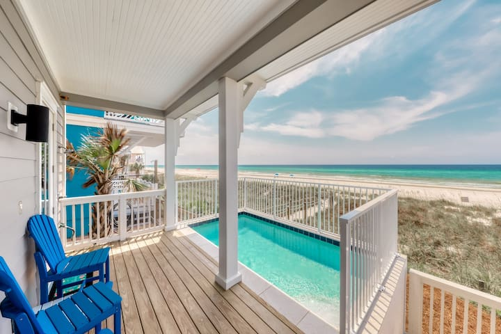 New listing! Luxurious beachfront home w/ covered patios & private outdoor pool