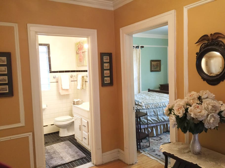 Enjoy the convenience of a bath just feet from your bed.