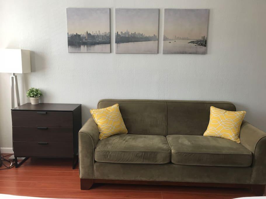 Bedroom 2 - regular couch, dresser