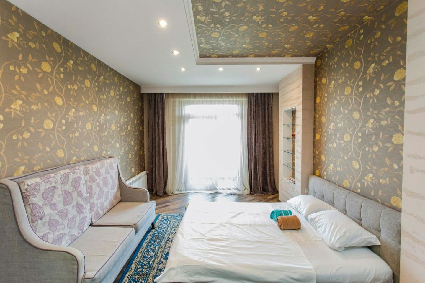 Wide bed room with loggia and amazing view to Koktobe hill is perfect for recreation