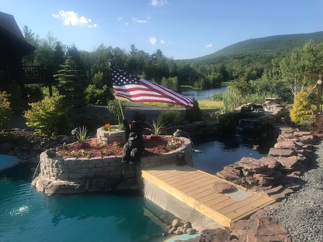 koi pond loaded w fish, great huge custom log cabin for all seasons, no better home in Hunter Mountain