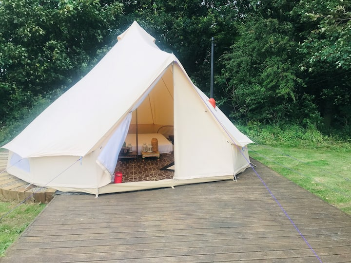 Eartha, bell tent in field and woodland