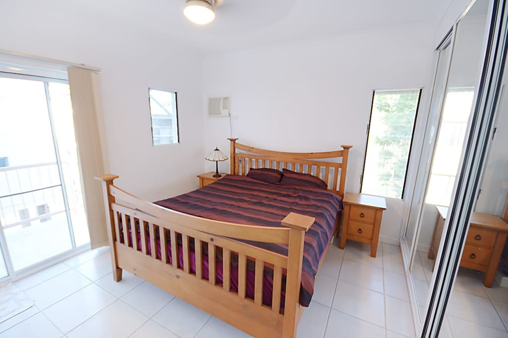 Your room with king size bed, own shower and balcony