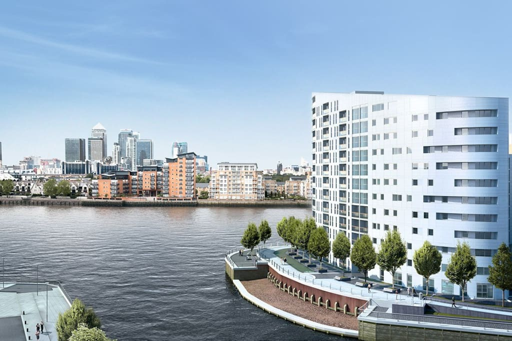 Riverside location with views of Canary Wharf and O2.
