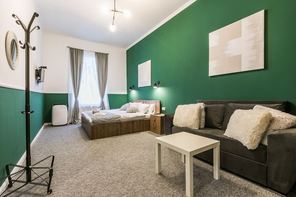 Double bad room with transformer sofa