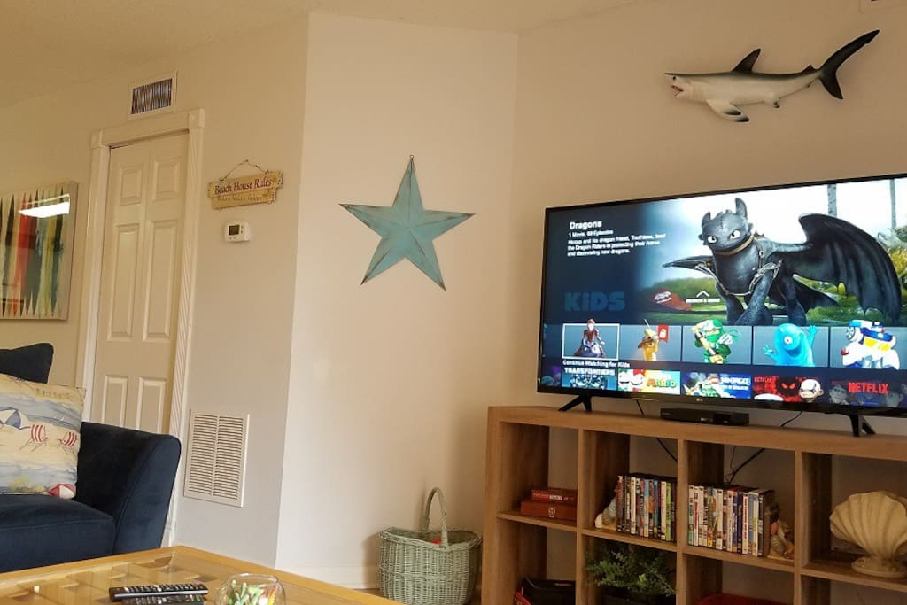 Entertainment center with games and DVDs