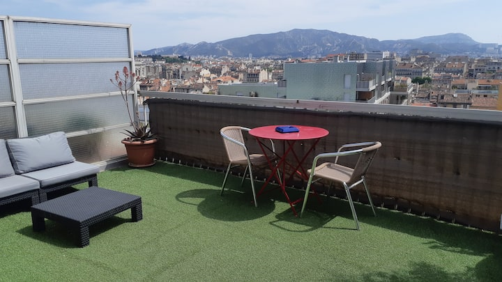 studio apartment with large terrace