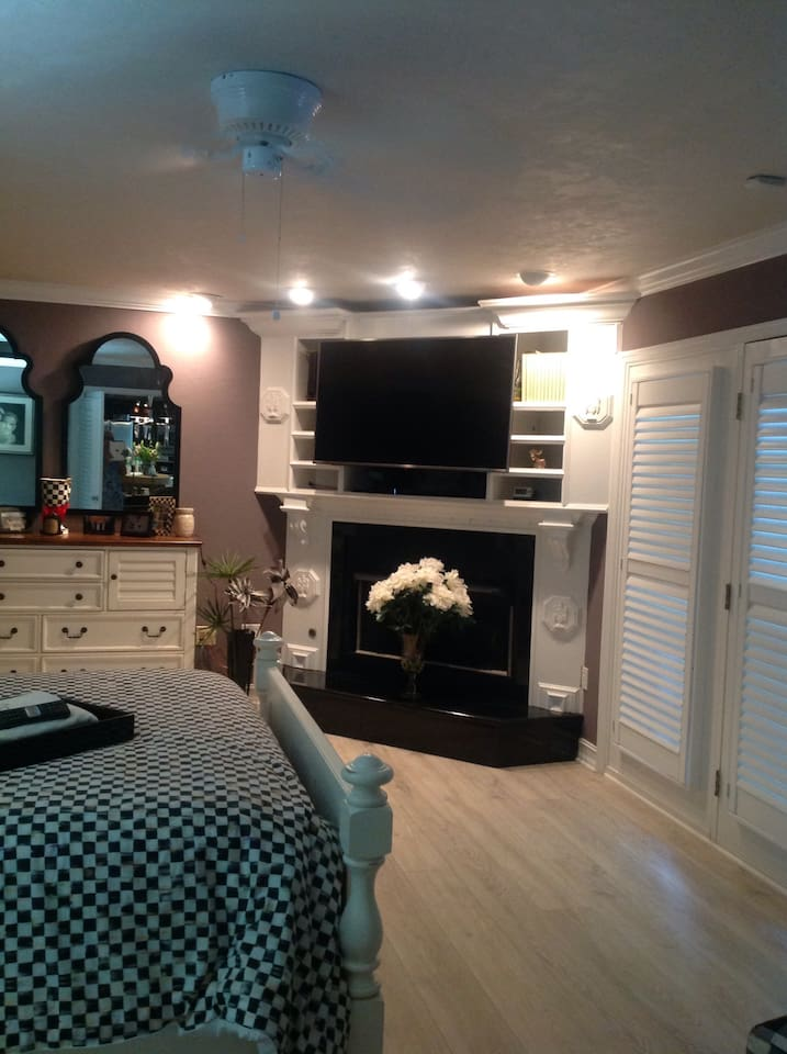 Bedroom with fireplace and television