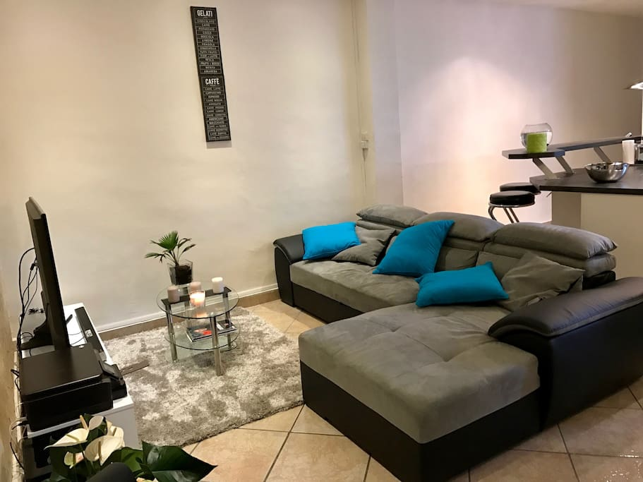 Salon avec canapé et lecteur DVD, Home cinema, Xbox, imprimante...