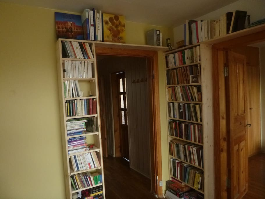 Book shelves in the dining room