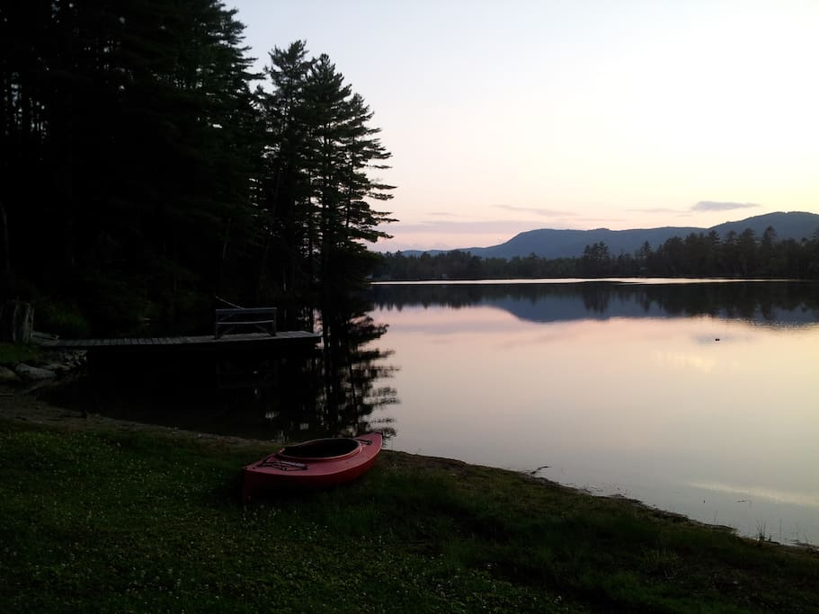 Mirror Lake at sunset. Use of one kayak, various inflatables, and life jackets comes with the rental.