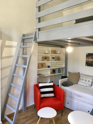 Bright and cozy apartment with sleeping loft
