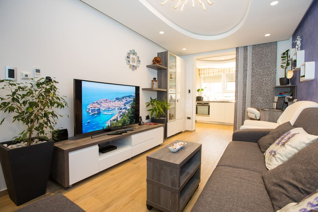 Living room with big curved multimedia TV, AC, Wi-Fi