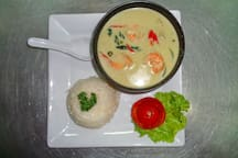 Tom Kha Kai served with rice (Chicken in coconut soup)