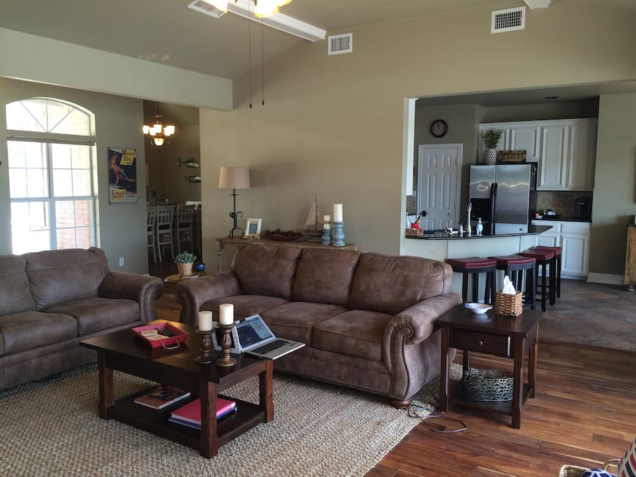 Living Room with Fireplace, pull out queen sleeper, 50 inch Television with sound system
