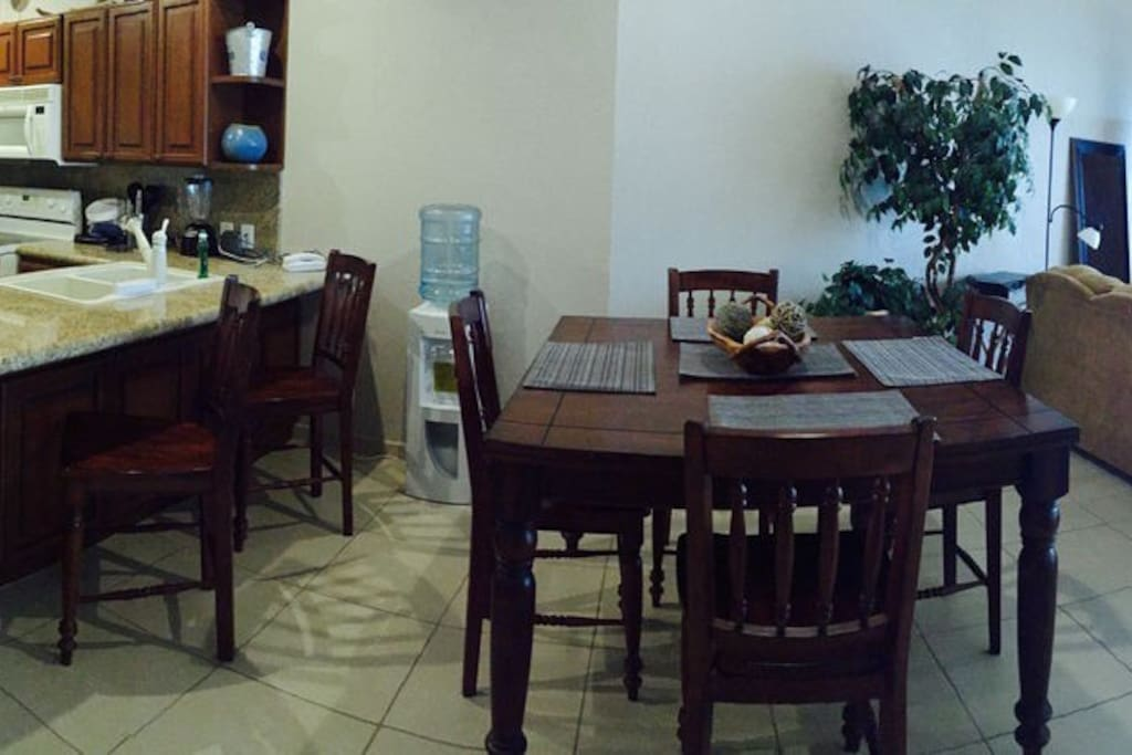Kitchen, Table, Living room