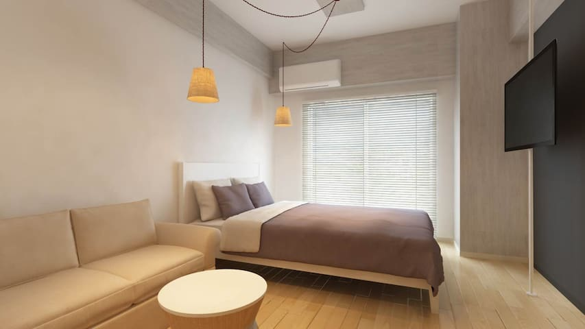 5 min to  station, a designer room. - Ōsaka-shi - Appartement