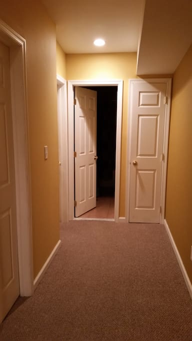 Hallway leading to the bathroom and bedroom